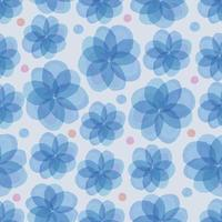 seamless blue floral with colorful dot pattern background vector