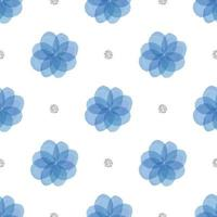 seamless blue floral with silver dot glitter pattern background vector
