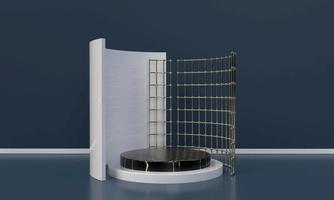 Representación 3D de formas gráficas y elementos de diseño.