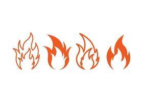 fuego, icono, ilustración, vector, conjunto vector
