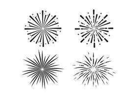 conjunto de vectores de ilustración de icono de fuegos artificiales