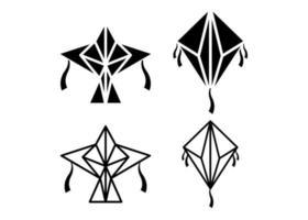 Kite icon illustration vector set