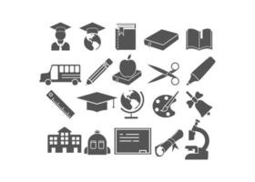 School item icon set vector