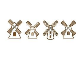 Windmill icon illustration vector set