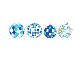 conjunto de vectores de ilustración de icono de bola de discoteca