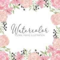 rose peony watercolor flower arrangement square frame vector