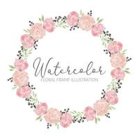 marco de círculo de arreglo floral rosa acuarela vector