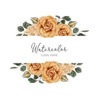 watercolor yellow rose flower border with leaf vector