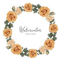 hermosa acuarela rosa amarilla flor círculo corona