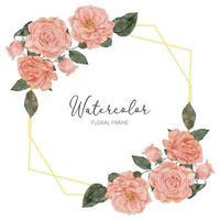 flor de acuarela melocotón rosa flroal borde rústico