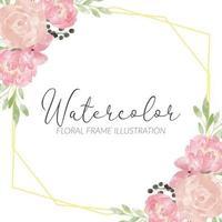 rustic rose peony watercolor flower arrangement frame vector