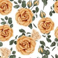 acuarela rosa amarilla ramo de flores de patrones sin fisuras vector