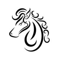 Black and white line art of horse head. vector