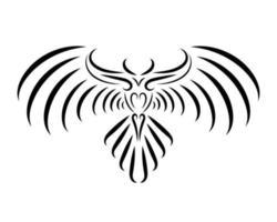 arte lineal en blanco y negro de águila con hermosas alas.