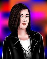 hermosas mujeres usan chaquetas de cuero negro eps 10. vector