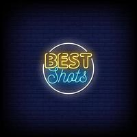 Best Shots Neon Signs Style Text Vector