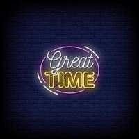 Great Time Neon Signs Style Text Vector
