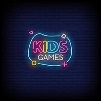 Kids Game Neon Signs Style Text Vector