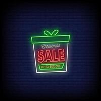 Christmas Sale Neon Signs Style Text Vector