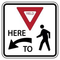 Traffic road sign yield here to pedestrians warning vector