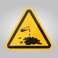 Cuidado con el signo de símbolo de derrame químico aislado sobre fondo blanco, ilustración vectorial eps.10