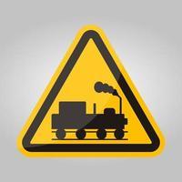 peligro, cuidado, de, trenes, símbolo, señal, aislar, blanco, plano de fondo, vector, ilustración, eps.10