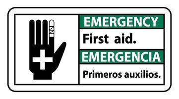 Señal de primeros auxilios de emergencia bilingüe