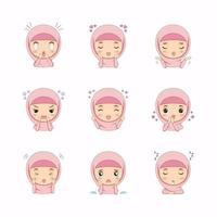 Cute Muslim girl with different face expressions vector