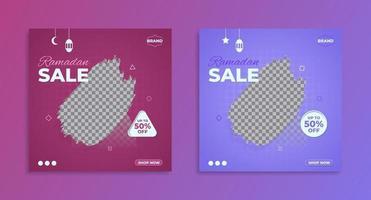 Plantilla de banner de promoción de venta de Ramadán púrpura, banner de venta y descuento. vector