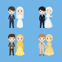 Set of Cute Muslim couple wearing suits and dresses vector