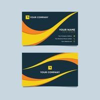 Plantilla de tarjeta de visita con líneas onduladas amarillas sobre azul vector