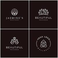 feminine outline logo design bundle, can be used for cosmetic, beauty salon, spa, yoga and skin care. vector