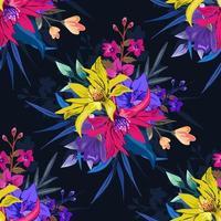 colorido patrón floral transparente botánico sobre fondo oscuro. vector