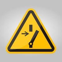Desconecte antes de realizar el mantenimiento o reparación, símbolo de signo sobre fondo negro, aislar sobre fondo blanco, ilustración vectorial eps.10