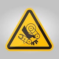 Signo de símbolo de robot de aplastamiento de mano aislado sobre fondo blanco, ilustración vectorial eps.10