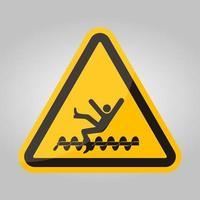 Advertencia: las piezas giratorias expuestas causarán lesiones en el servicio o signo de símbolo de muerte aislado sobre fondo blanco, ilustración vectorial