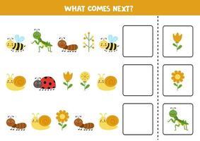 lo que viene a continuación juego con lindos insectos de colores. vector