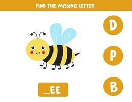 Find missing letter with cute bee. Spelling worksheet. vector