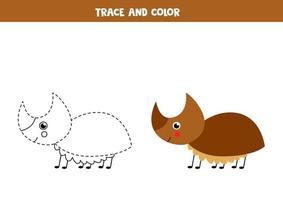 Traza y colorea el lindo insecto rinoceronte. hoja de trabajo para niños. vector