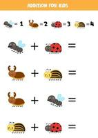 Addition for kids with cute cartoon insects. vector