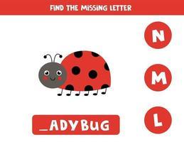 Find missing letter with cute ladybug. Spelling worksheet. vector