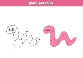 trazar y colorear lindo gusano. hoja de trabajo para niños. vector