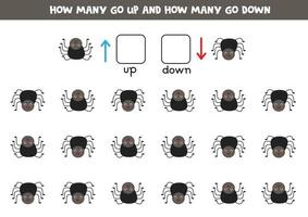 izquierda o derecha con linda araña. hoja de trabajo lógica para niños en edad preescolar. vector