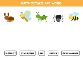 Match cute insects and their names. Game for kids. vector