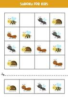 Sudoku game with cute insects. For kids. vector