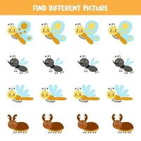 Find cute insect which is different from others. Worksheet for kids. vector