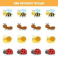 Encuentra un insecto lindo que sea diferente a los demás. hoja de trabajo para niños. vector