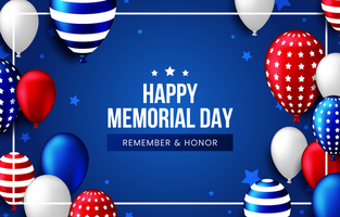 Happy Memorial Day with Realistic Balloons Background vector