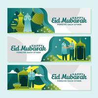 Enjoying Peaceful Days on Eid Mubarak vector