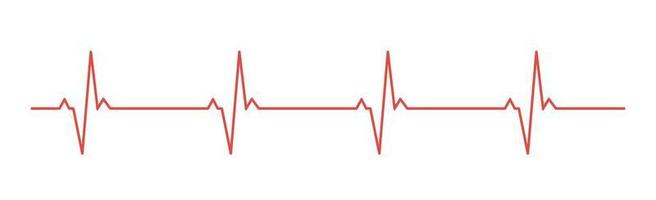 Heart pulse - curved red line on a white background vector